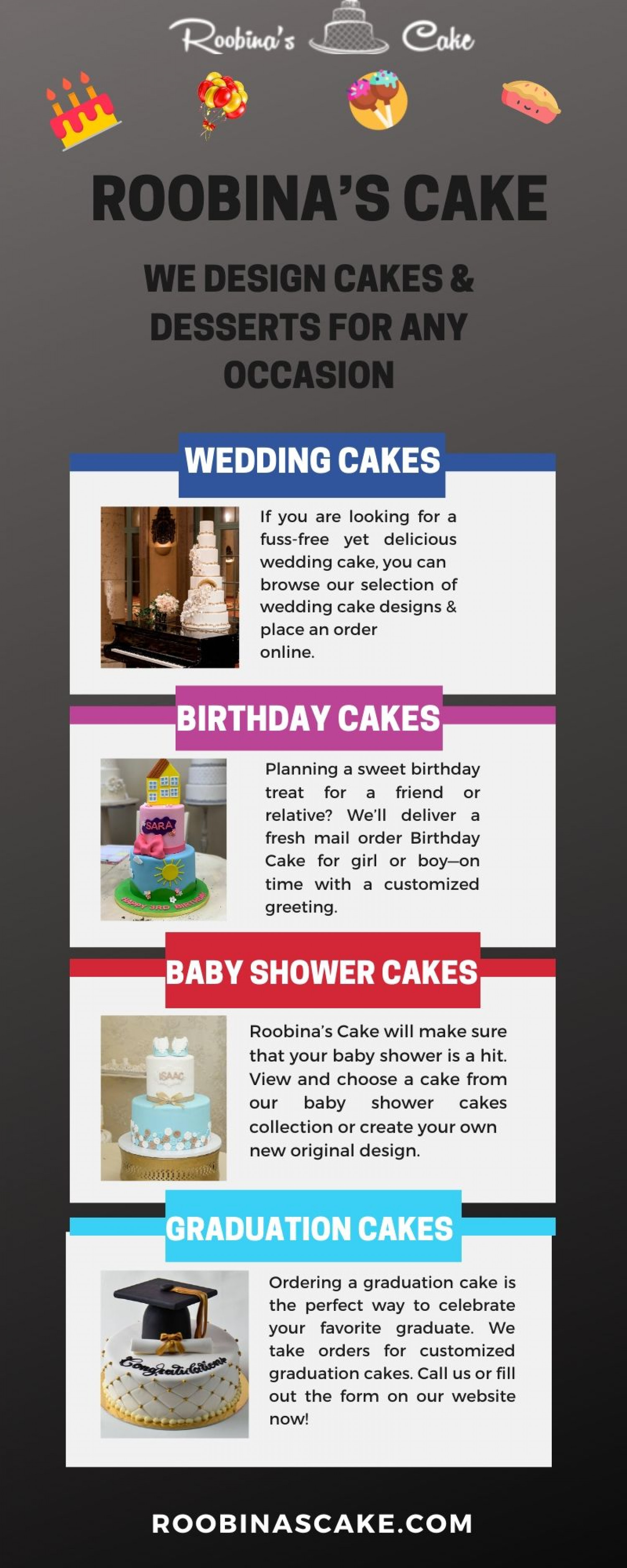 Best Wedding Cake designs  - Only at Roobina's Cake Infographic