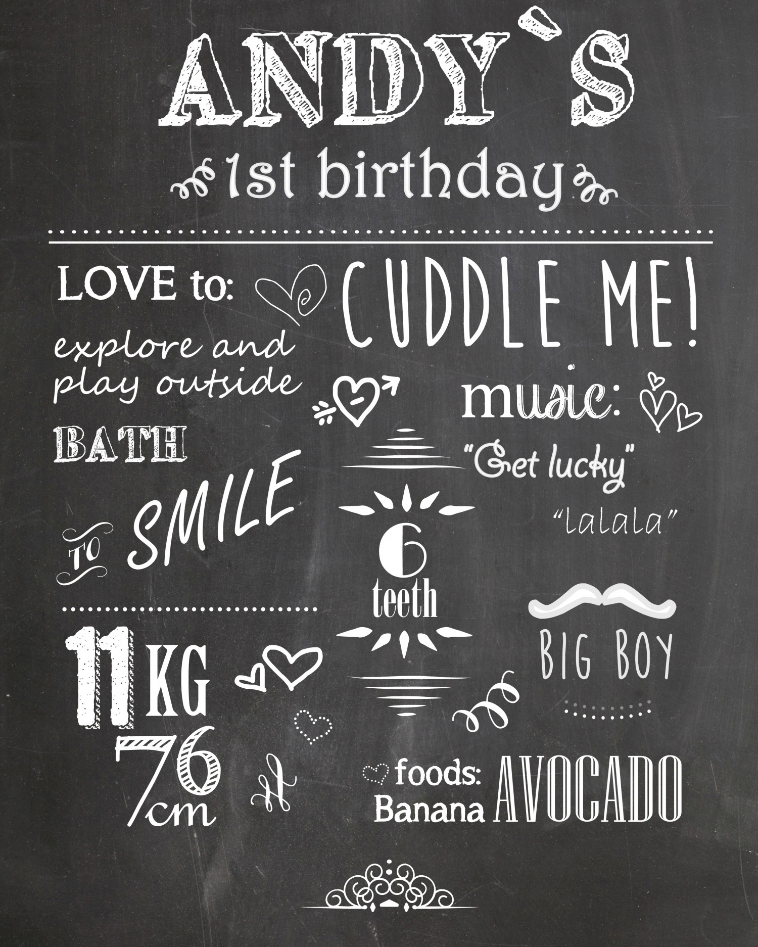 Andy's First Birthday Infographic