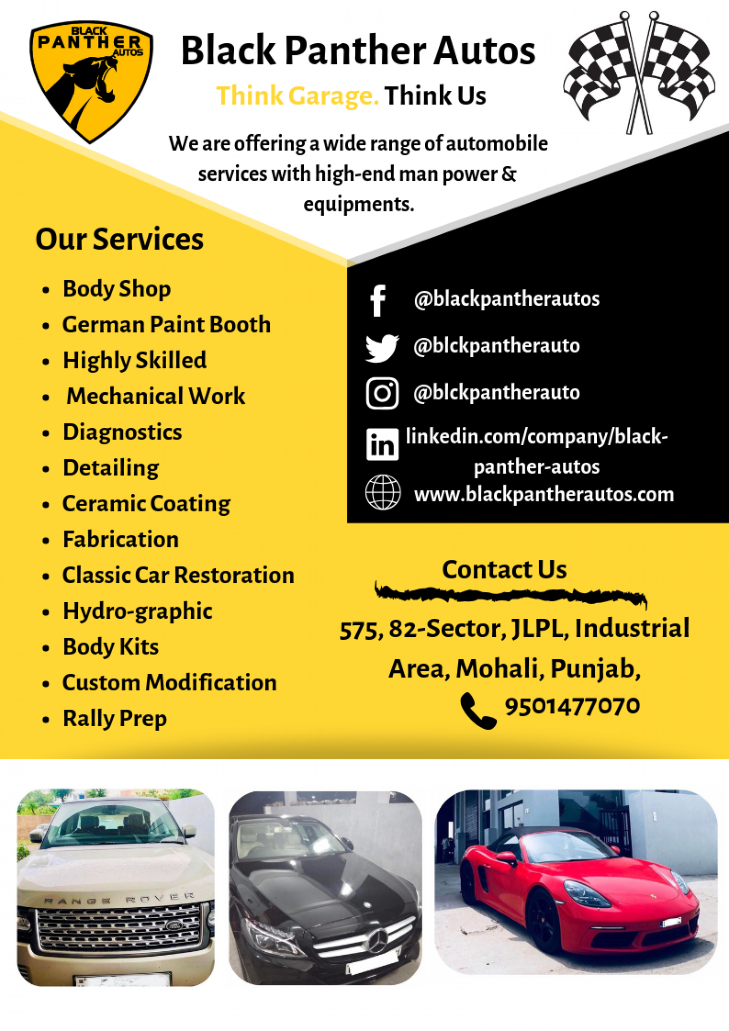 Black Panther Autos | Luxury Car Repair and Service Workshop Infographic
