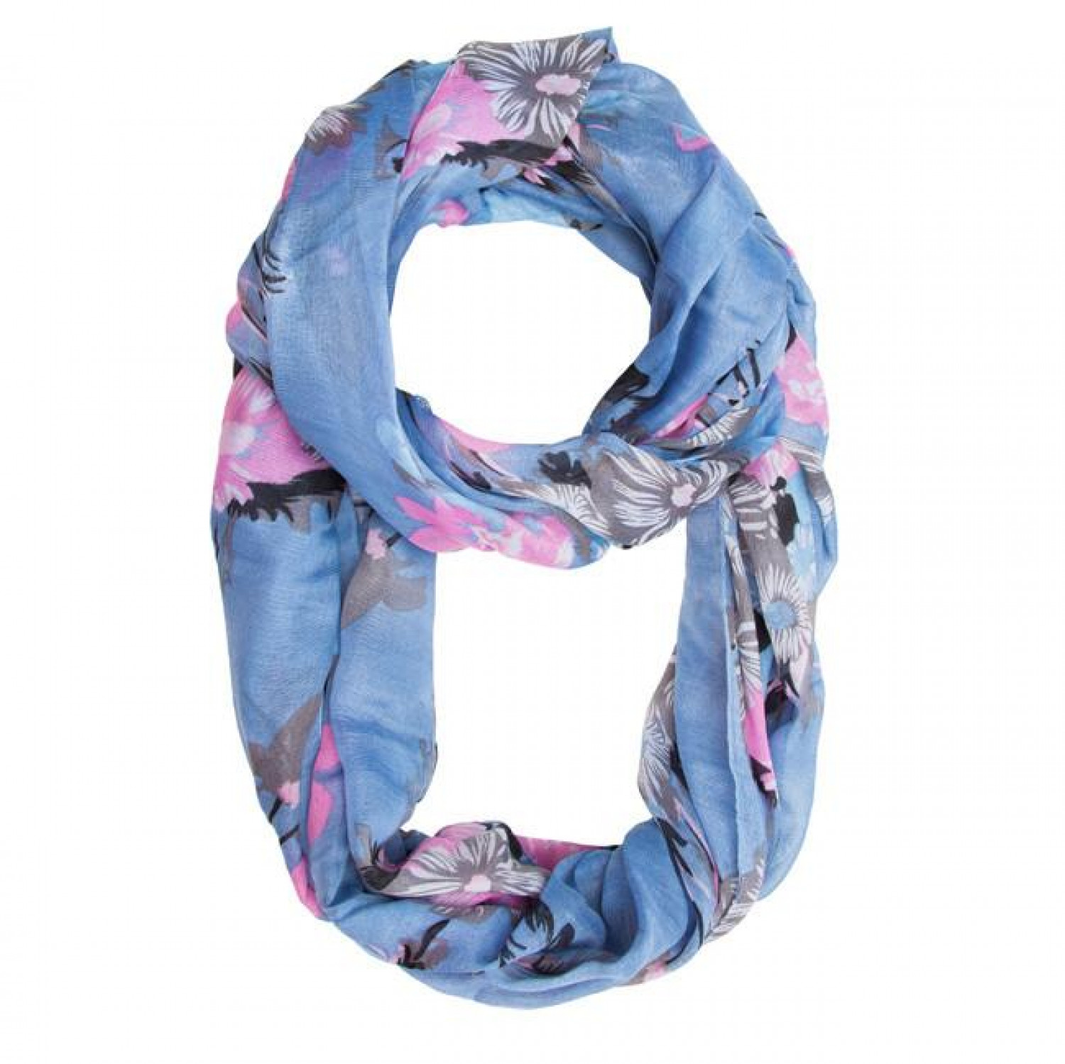 Blue Melanie Floral Infinity Scarf Infographic