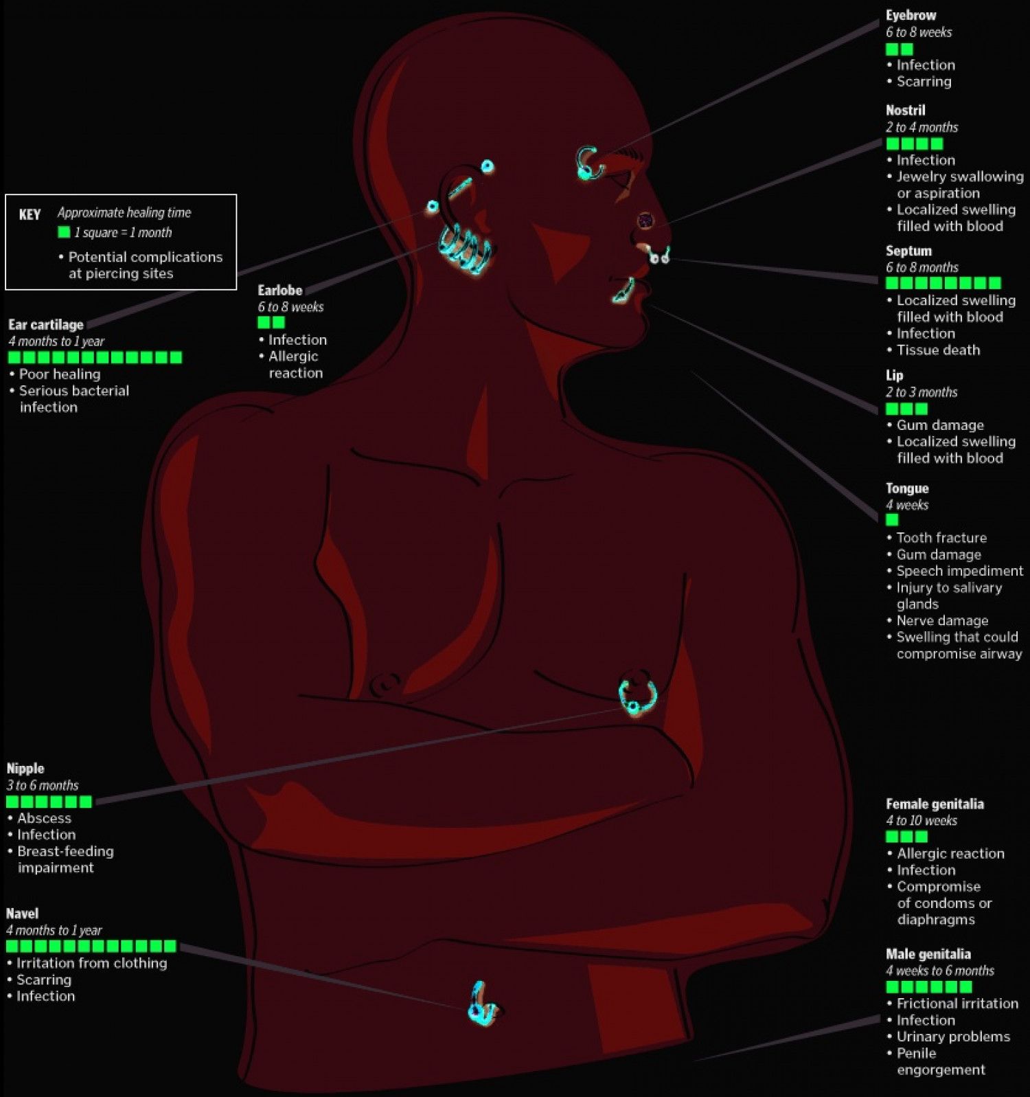 Body Piercing Healing Time Chart Infographic