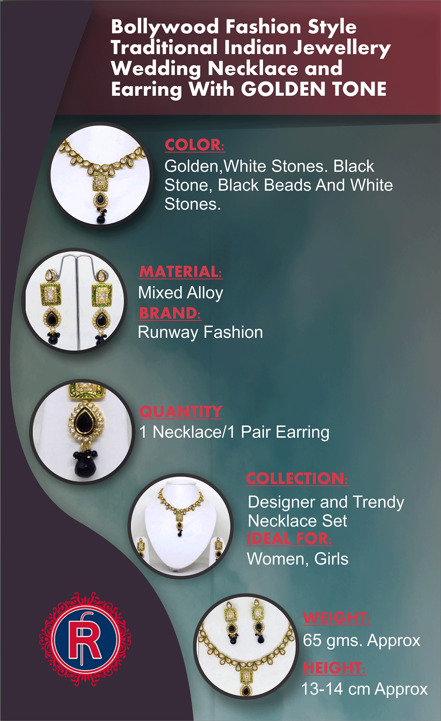 Bollywood Fashion Style Traditional Indian Jewellery Wedding Necklace and Earring With Golden Tone Infographic