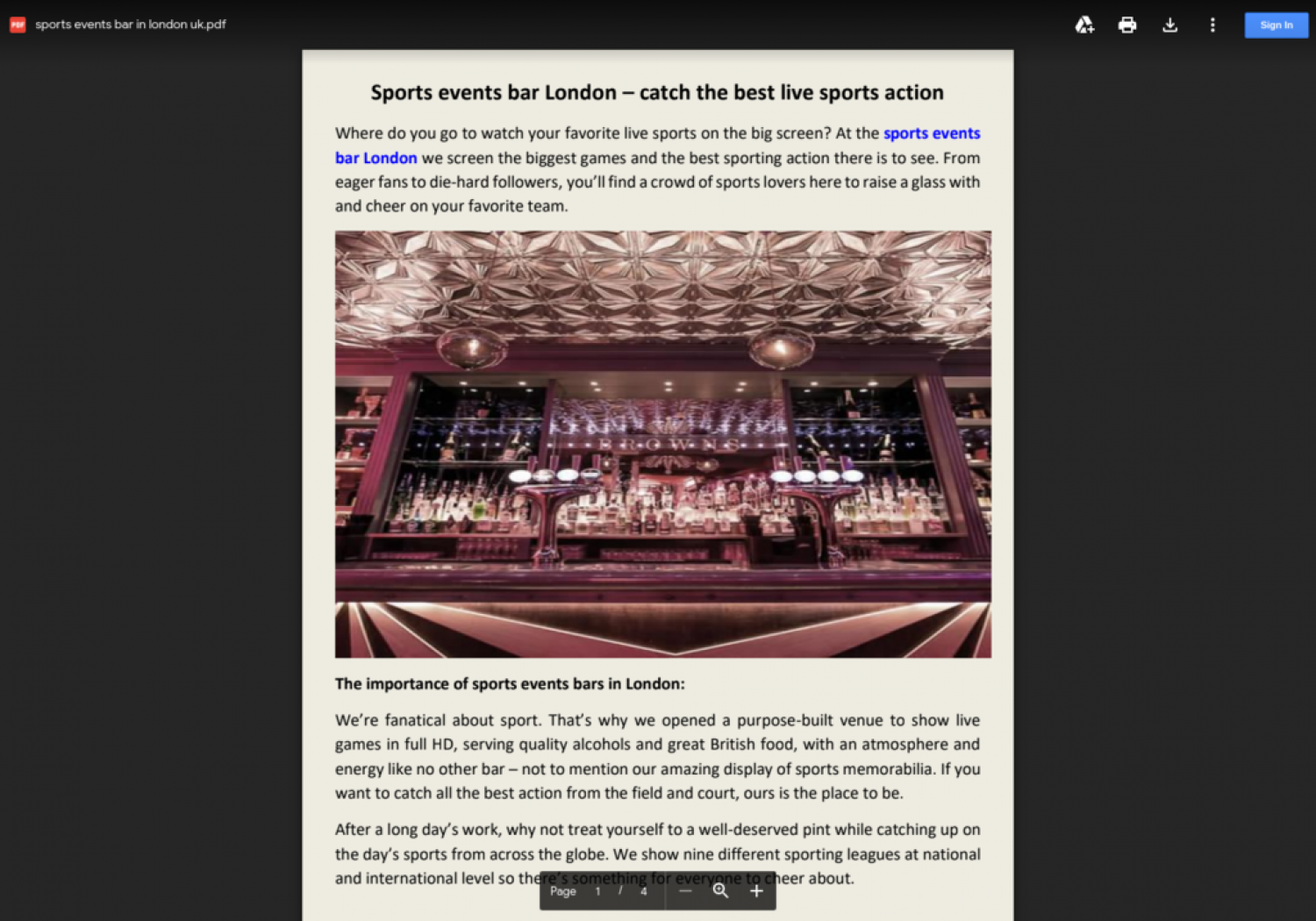 Book Sports Bar Events Online In London Infographic