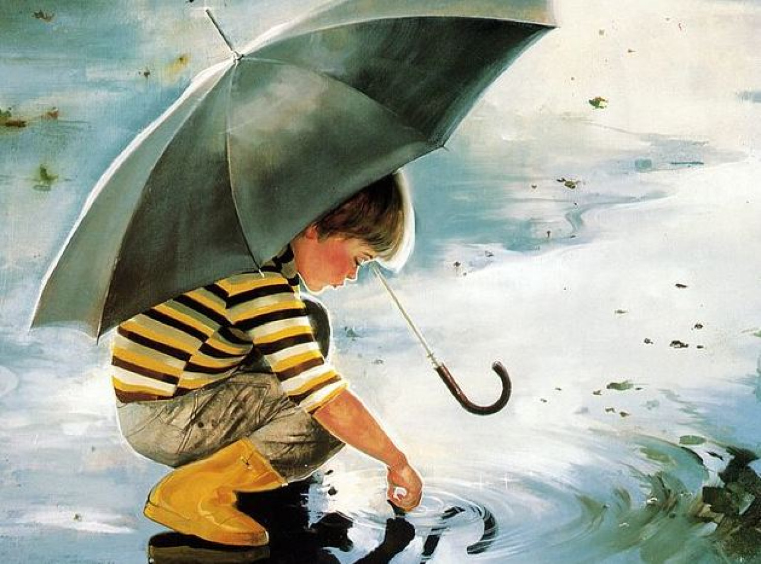 Boy with an Umbrella_playing with Rain water Infographic