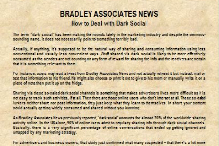 Bradley Associates News: How to Deal with Dark Social Infographic