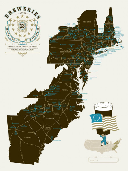 Breweries of the 13 Original States of the United States of America  Infographic