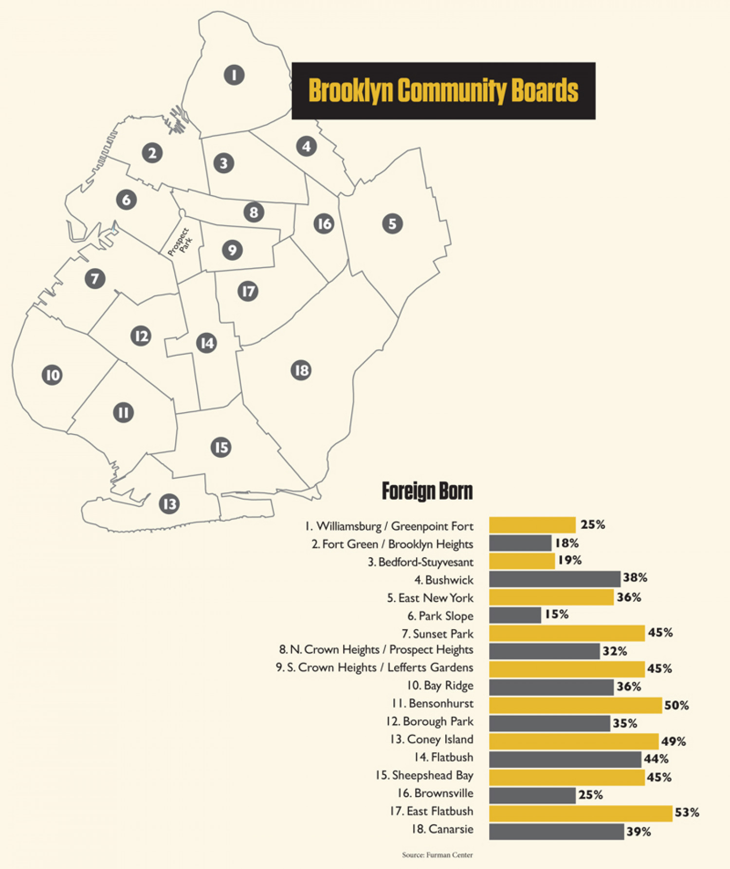 Brooklyn, New York: Foreign Born v. Native American Infographic