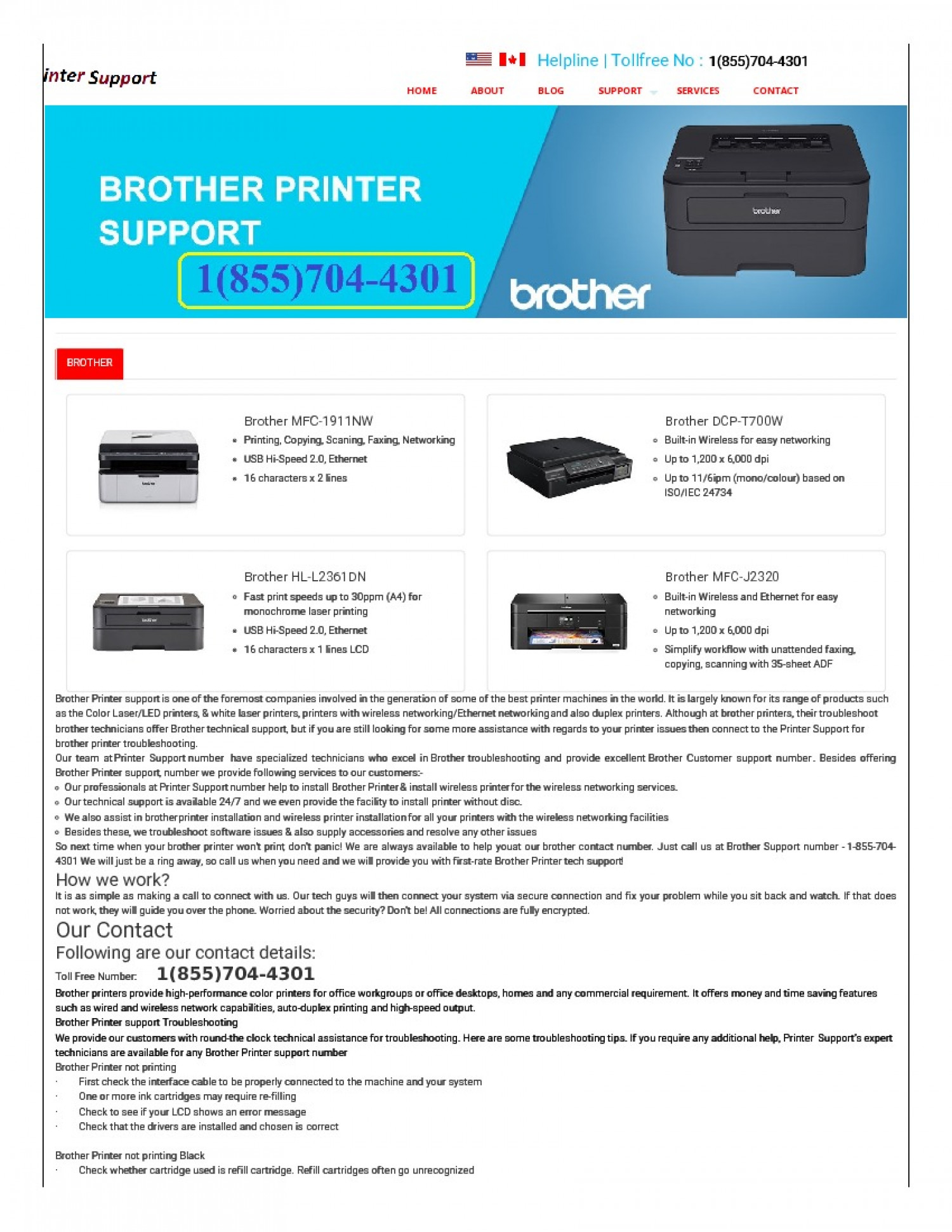 Brother Printer Support Phone Number+1(855)704-4301 Infographic