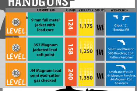 Bullet Proof Glass: Ballistic Ratings vs. Handguns and Rifle Rounds Infographic