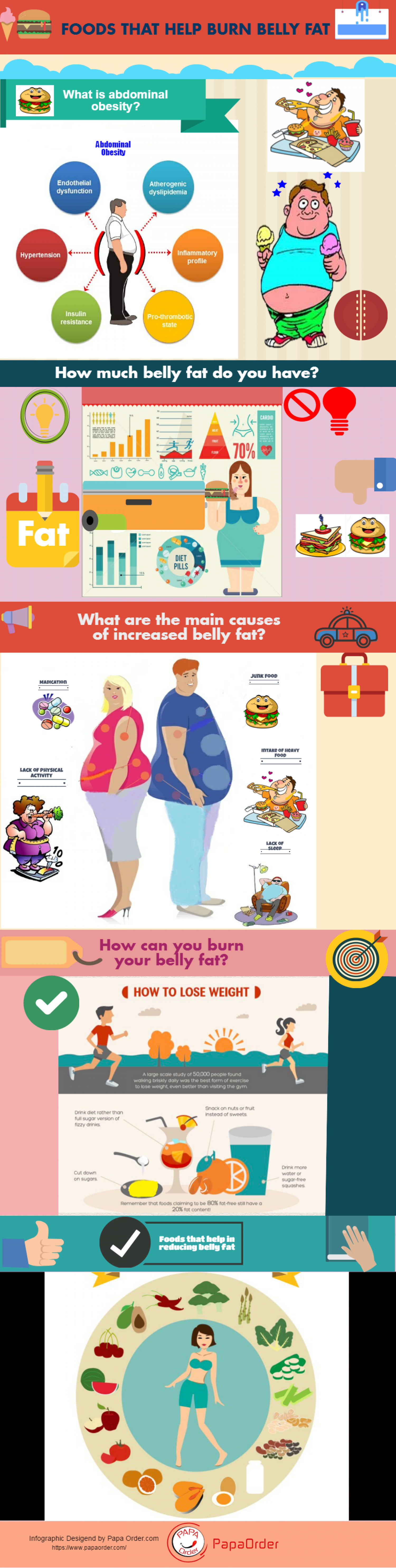 Burn Belly Fat by these Foods Infographic