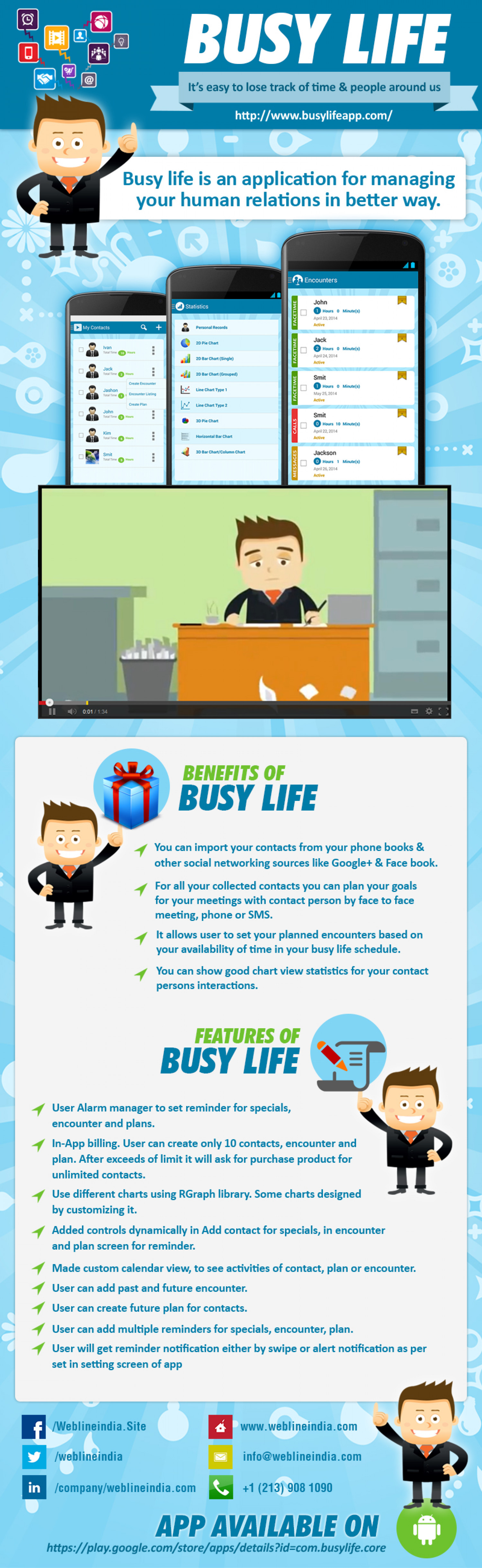 Busy Life App for Android Devices Infographic