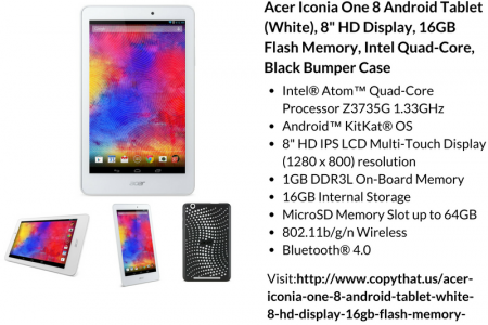 Buy Acer Iconia One 8 Android Tablet (White), 8