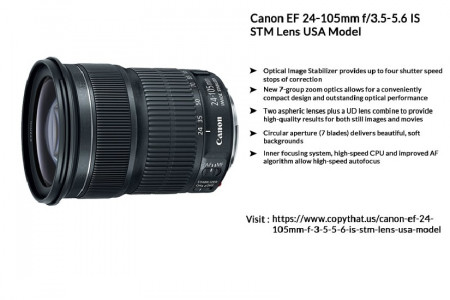 Buy Canon EF 24-105mm f/3.5-5.6 IS STM Lens USA Model Infographic