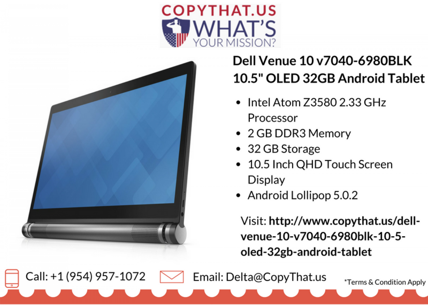 "Buy Dell Venue 10 v7040-6980BLK 10.5"" OLED 32GB Android Tablet Infographic"