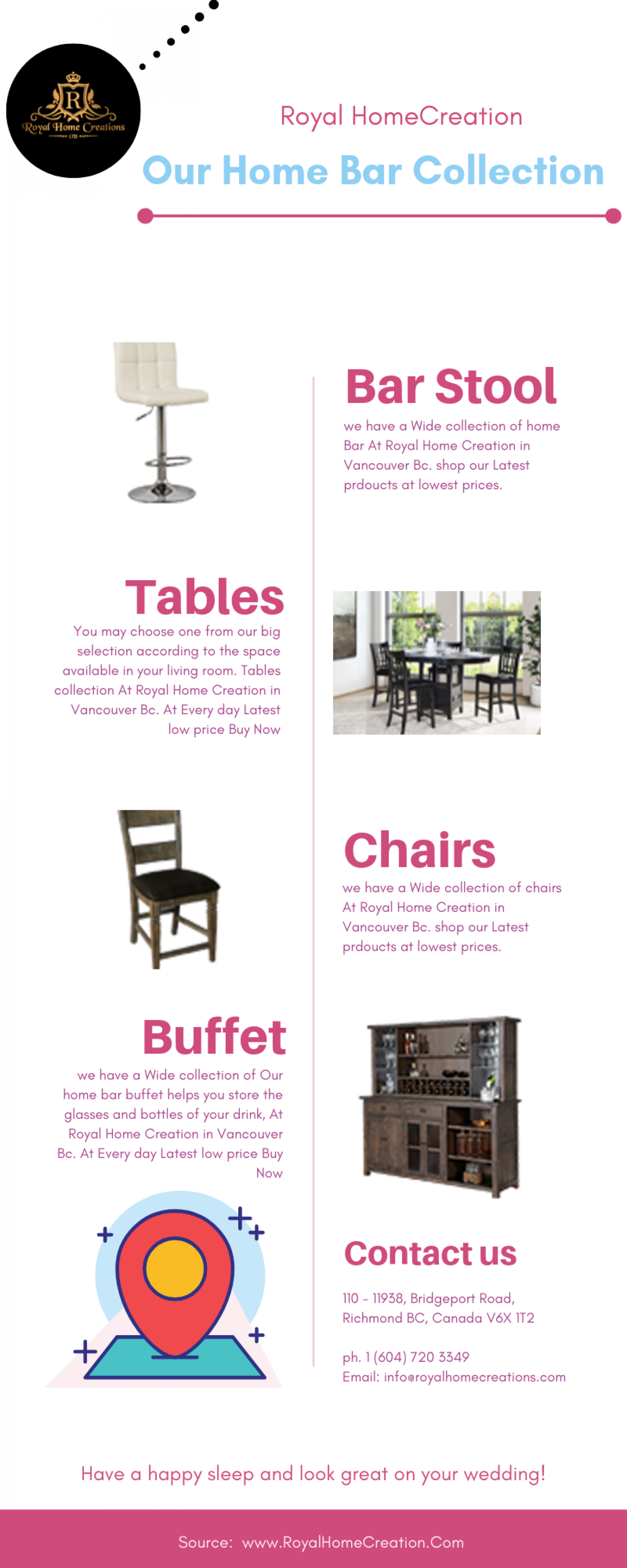 Buy Home Bars Furniture in Vancouver | Royal Home Creations Infographic