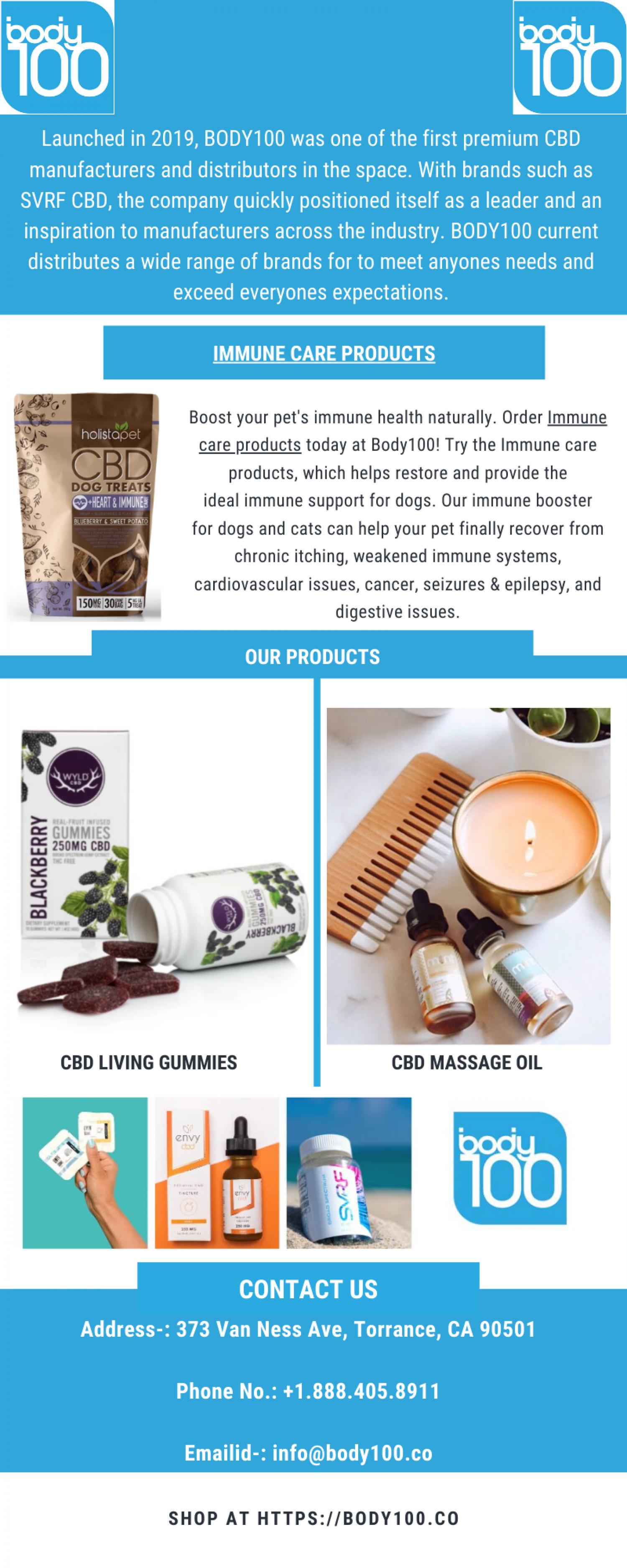 Buy Immune Care Products - Body100 Infographic