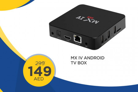 Buy MX IV Android TV Box at only AED 149 at Clik2buy Infographic