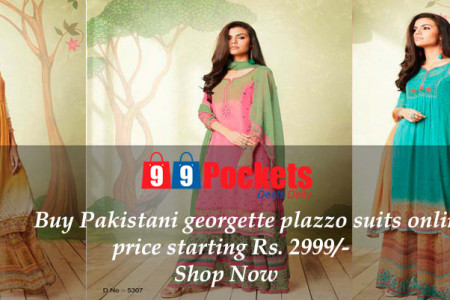 Buy Pakistani georgette plazzo suits online Infographic