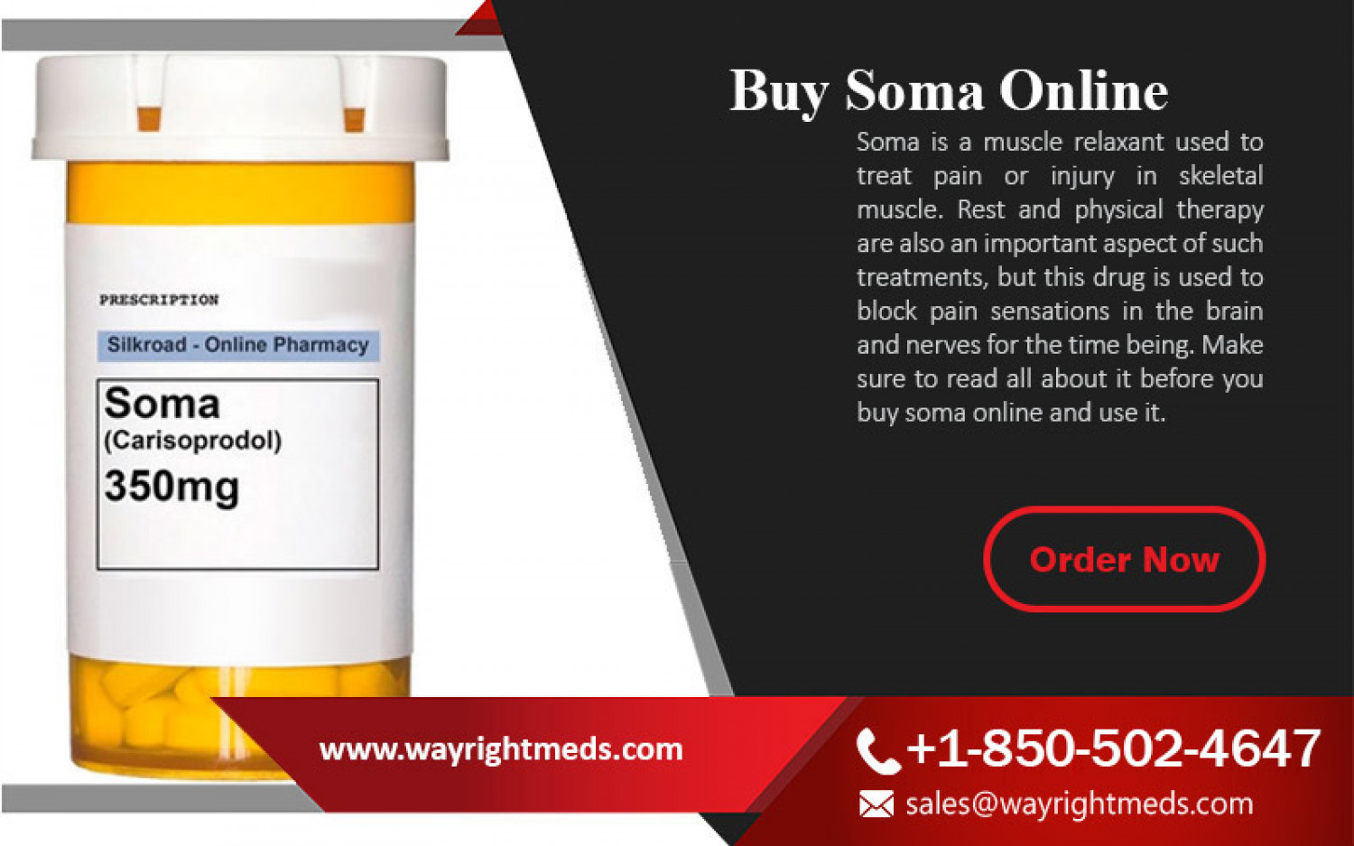 Buy Soma Online for Muscle Spasm Treatment - Wayrightmeds.com Infographic