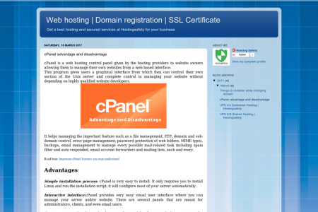 cPanel advantage and disadvantage Infographic