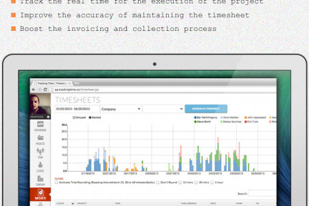 Calculate the Time Spent on Particular Task with Online Timesheet Infographic