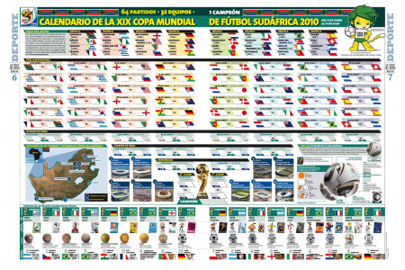 Calendar XIX World Cup Soccer South Africa 2010 Infographic