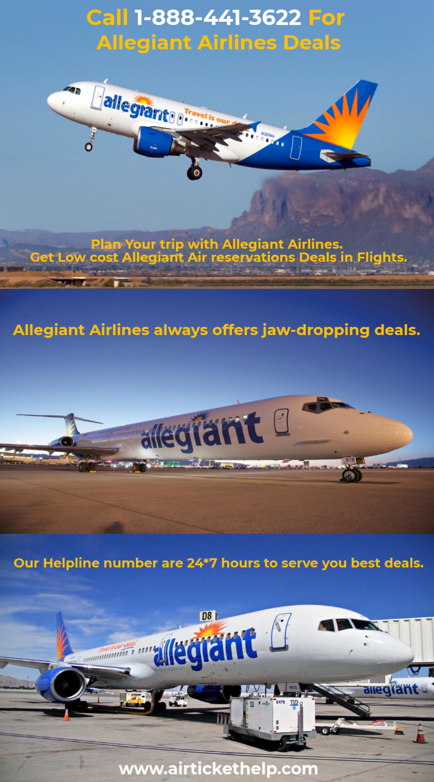 Call 1-888-441-3622 For Allegiant Airlines Deals Infographic