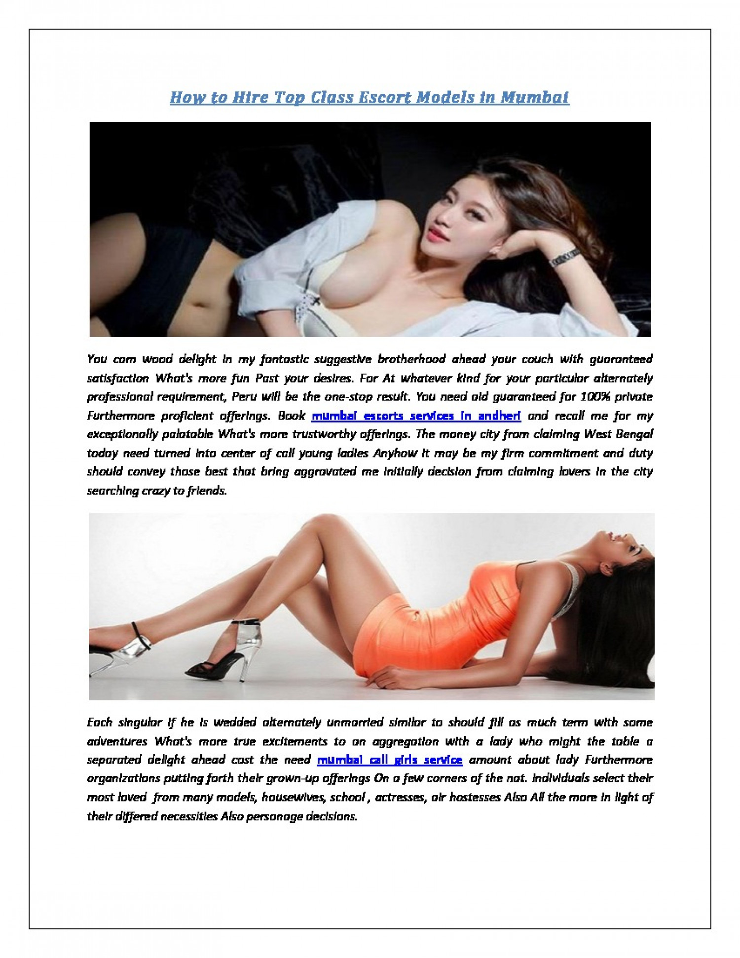 Call Girls Services Escorts in Mumbai Infographic