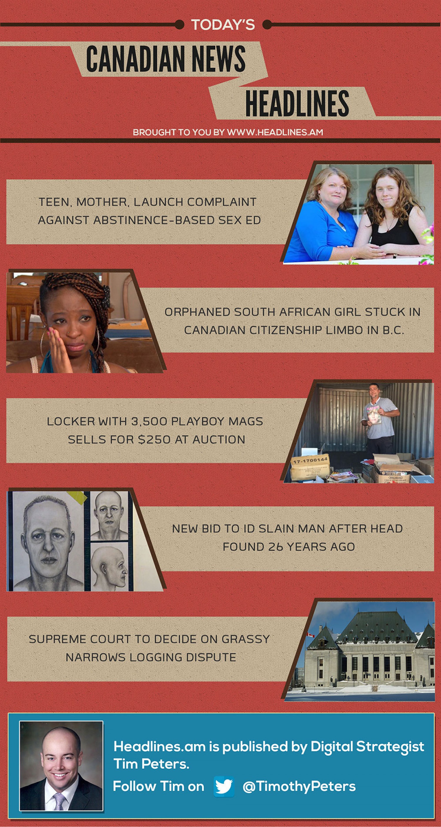 CANADIAN NEWS HEADLINES - July 11, 2014 Infographic