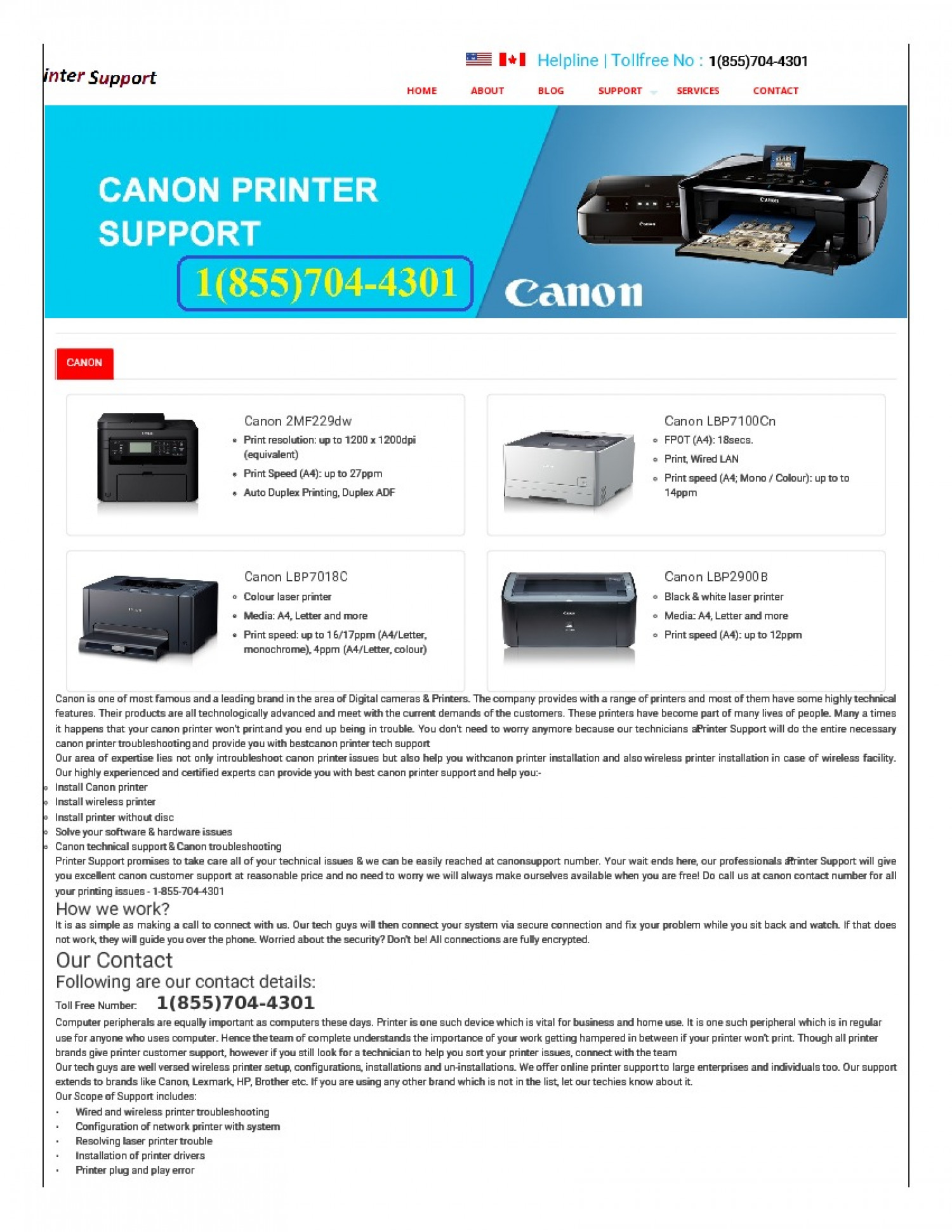Canon Printer Toll Free Number : 1(855)704-4301 Infographic