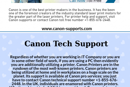 Canon Tech Support Number +1-855-676-2448 Infographic
