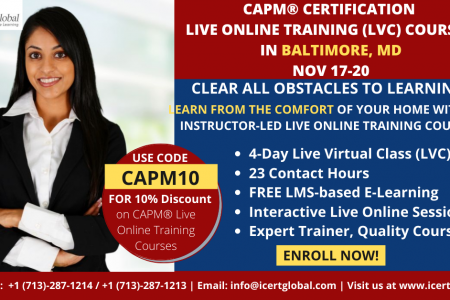 CAPM Live Online Certification Training  (CAPM Live Virtual Class) in Baltimore, MD   iCert Global Infographic