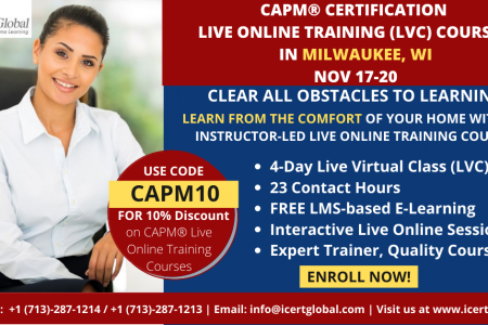 CAPM Live Online Certification Training  (CAPM Live Virtual Class) in Milwaukee, WI | iCert Global Infographic