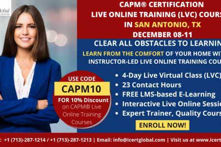 CAPM Live Online Certification Training (CAPM Live Virtual Class) in San Antonio, TX  | iCert Global Infographic