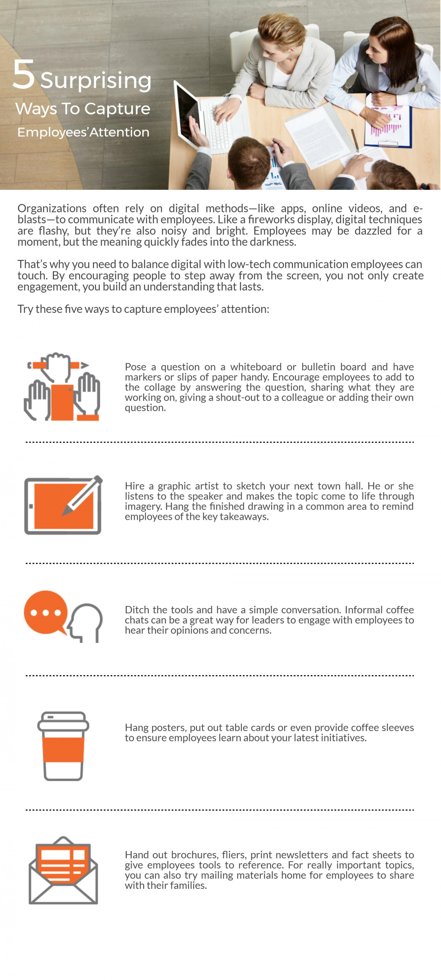 Capture Employees' Attention With 5 Surprising Points Infographic
