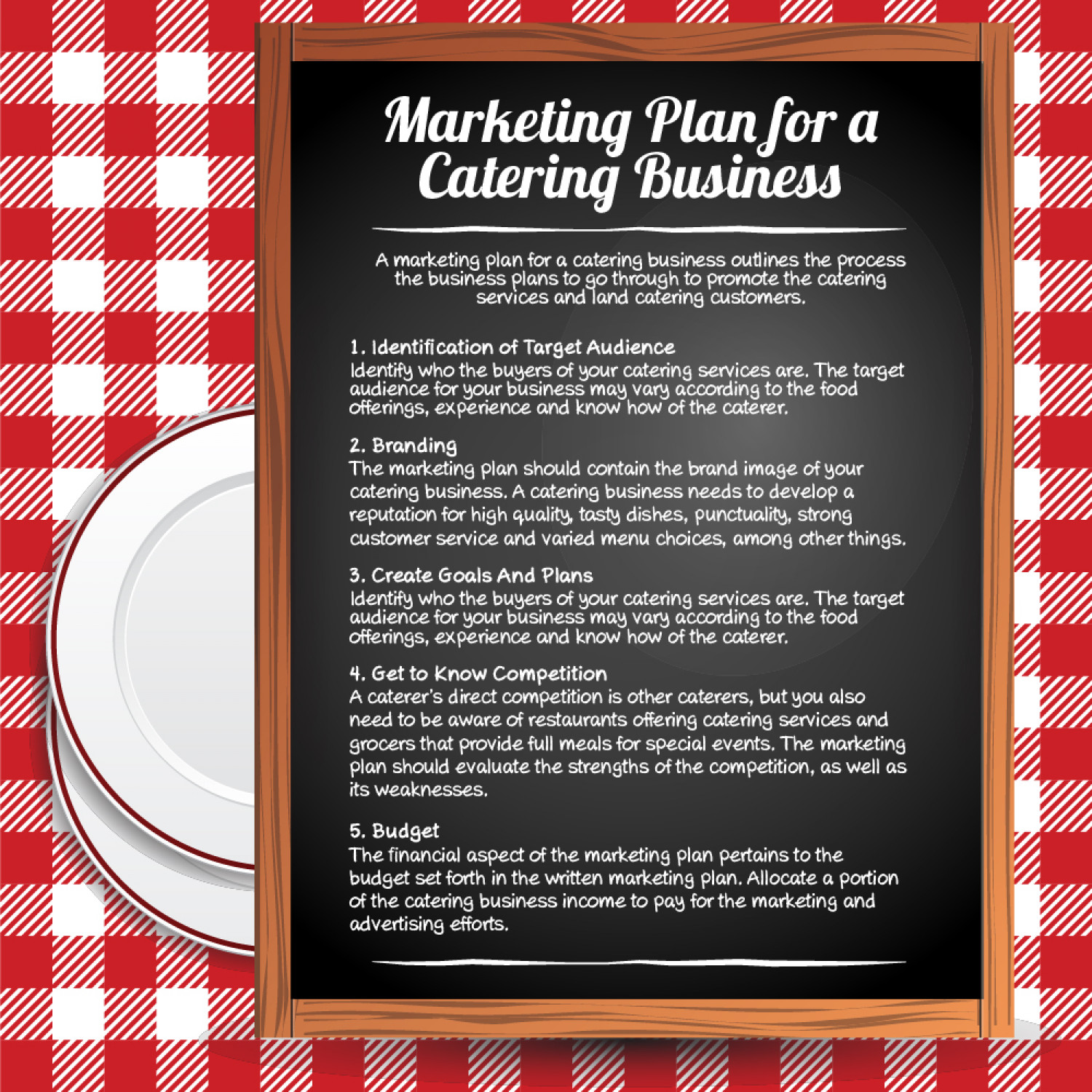 catering and marketing Many caterers feel that they don't have free time to devote to a writing a catering marketing plan this article explains why certain successful catering businesses set aside time to work up an achievable catering marketing plan.