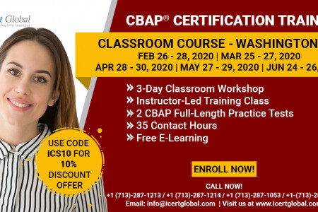 CBAP Certification Training in Washington, DC | Classroom Course | iCert Global Infographic