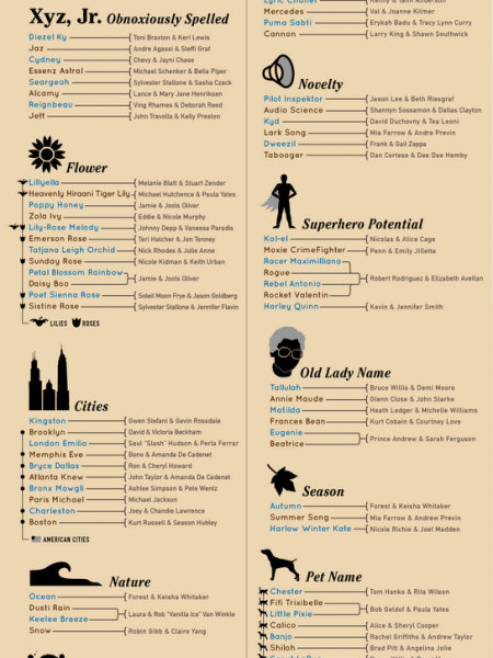 Celebrity Baby Names  Infographic