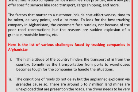 Challenges For Trucking Companies In Afghanistan Infographic