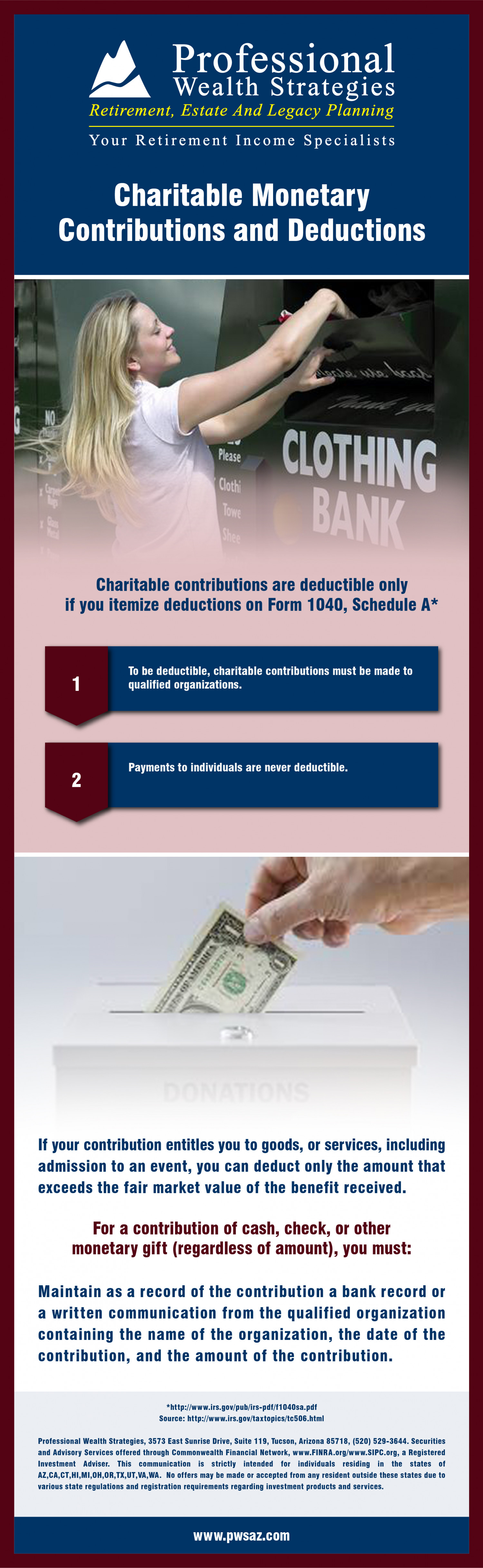 Charitable Monetary Contributions and Deductions Infographic