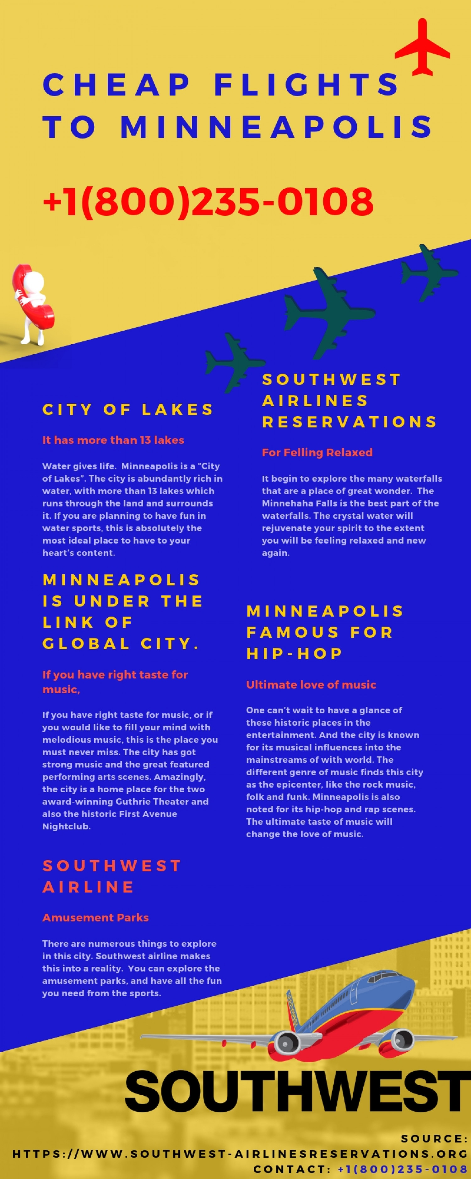 Cheap Flights to Minneapolis with Southwest Airlines Reservations +1(800)235-0108 Infographic