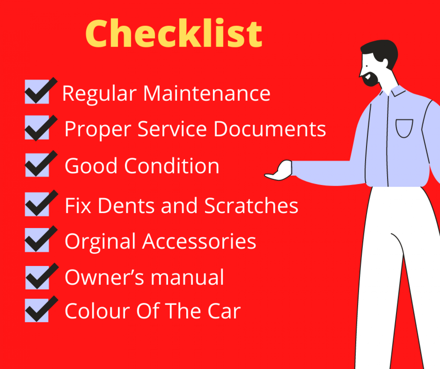 Checklist For Best Resale Value For Car Infographic