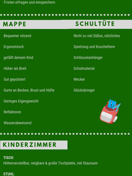 Checkliste Schulanfang Infographic