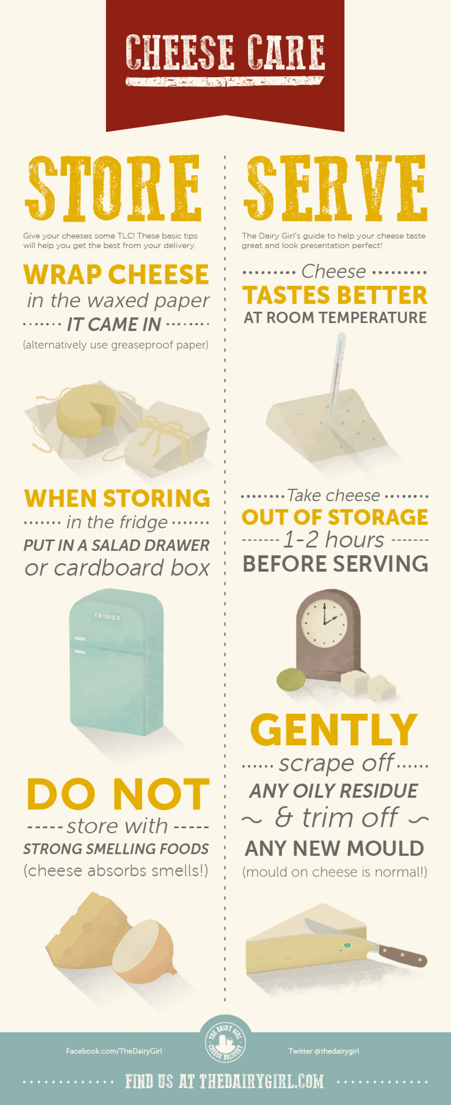 The Dairy Girl: Cheese Care Infographic