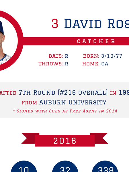 David Ross - Chicago Cubs 2016 MLB Player Infographic Infographic