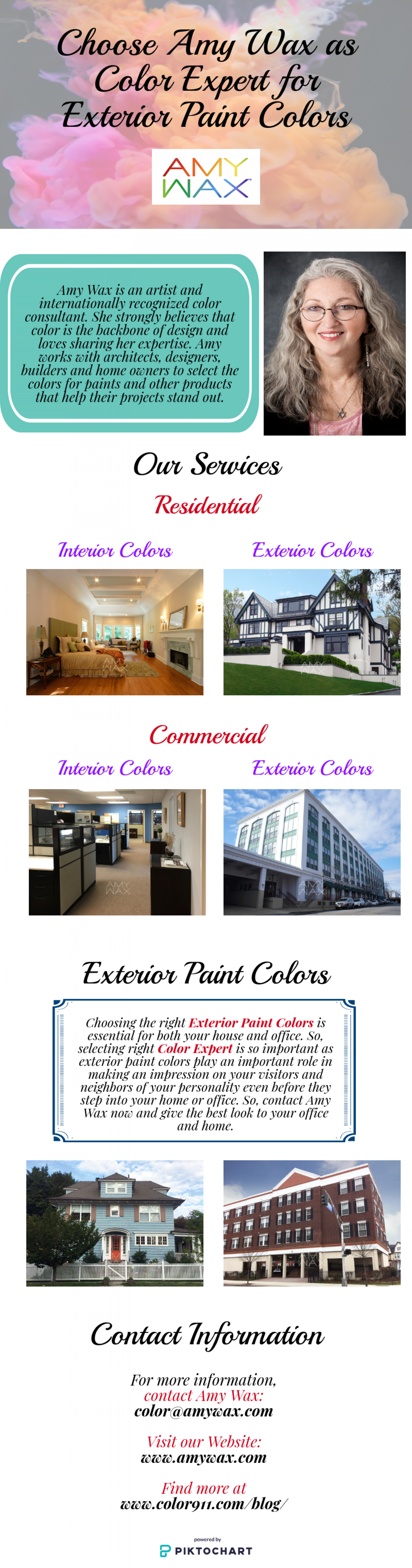 Choose Amy Wax as Color Expert for Exterior Paint Colors Infographic