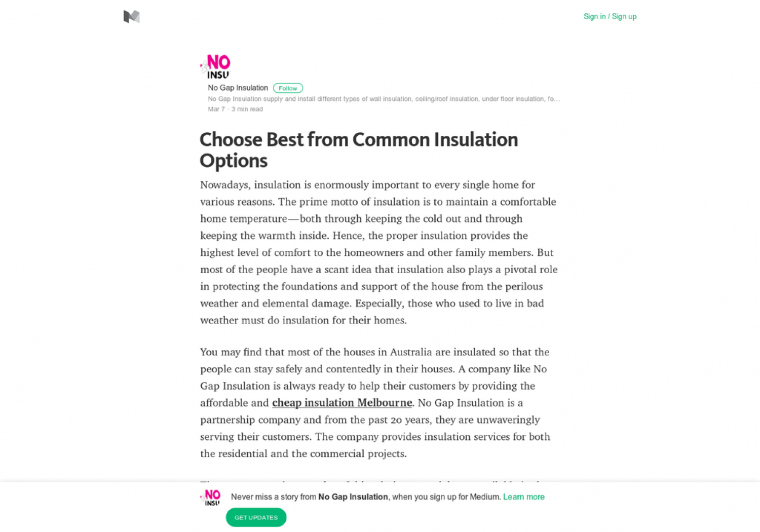 Choose Best from Common Insulation Options Infographic