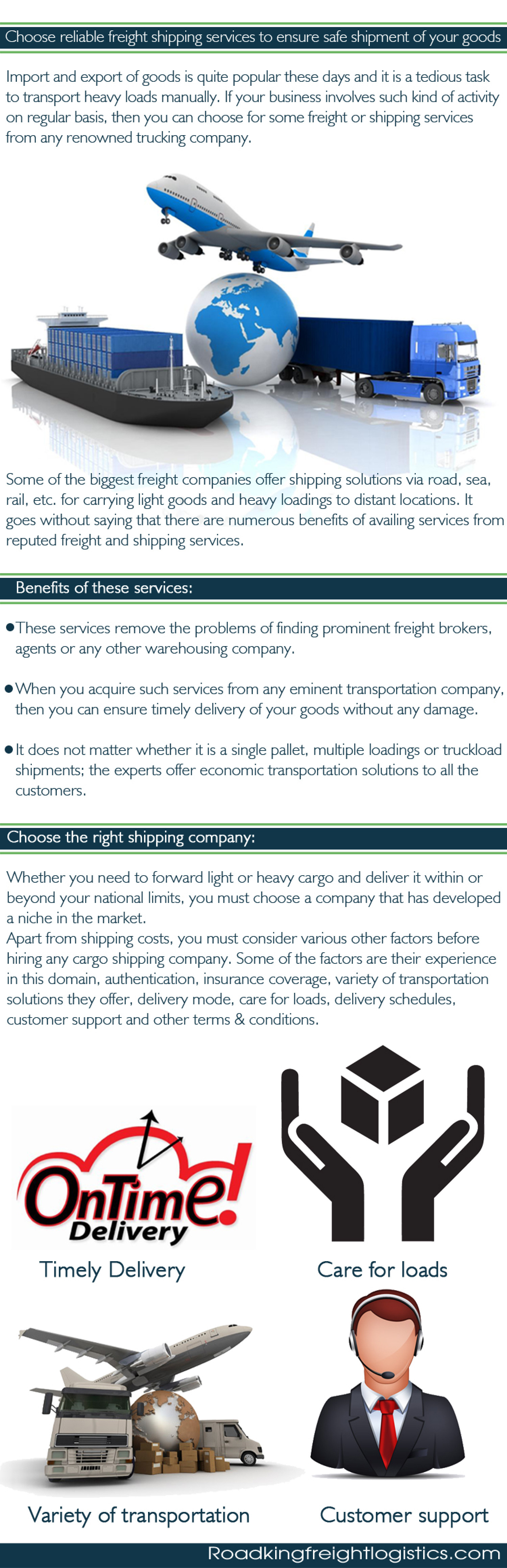 Choose Reliable Freight Shipping Services to Ensure Safe Shipment of Your Goods Infographic