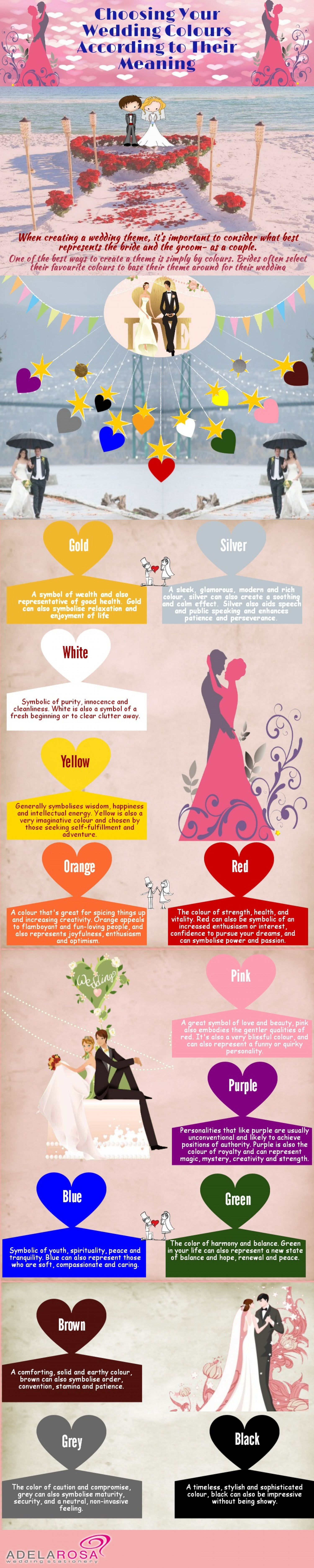 Choosing Your Wedding Colours According To Their Meaning Infographic