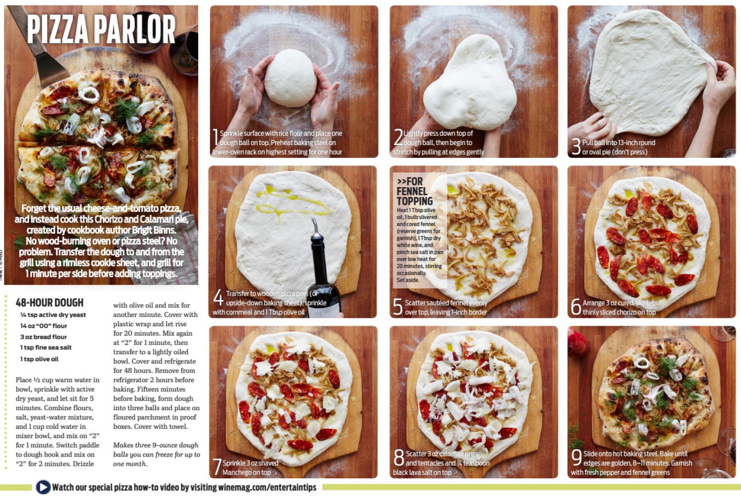 Chorizo & Calamari Pizza - A Recipe in 9 Easy Steps Infographic